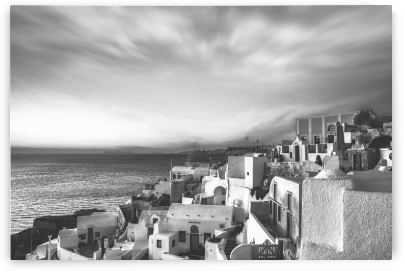 Panorama of Santorini Island - Greece BW by Stefano Senise Photography