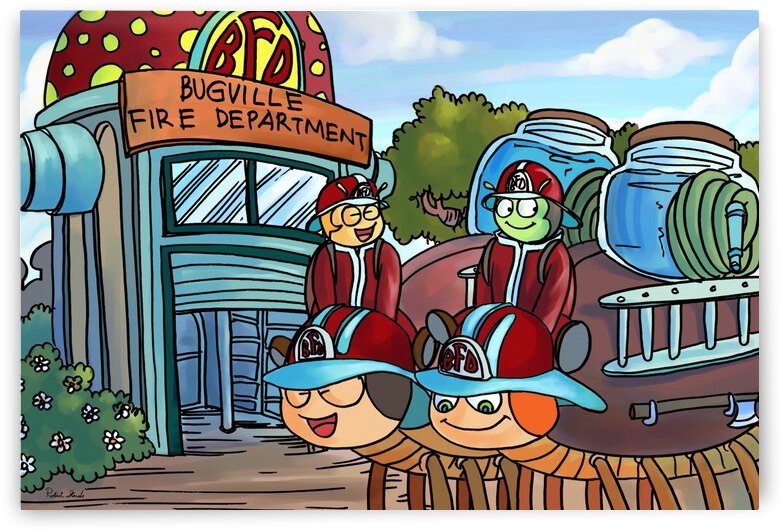 At the Fire Department - Places in Bugville Collection 2 of 4 by Robert Stanek