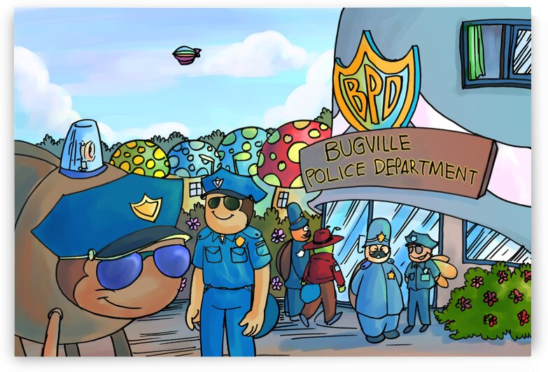 At the Police Department - Places in Bugville Collection 3 of 4 by Robert Stanek