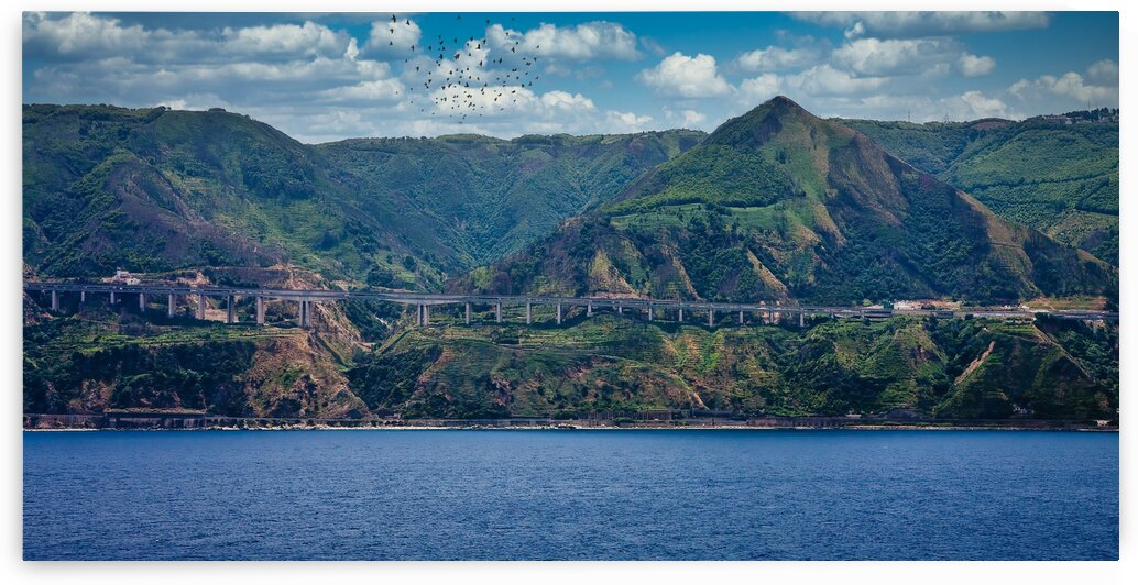 Elevated Highway Along Coast of Sicily by Darryl Brooks