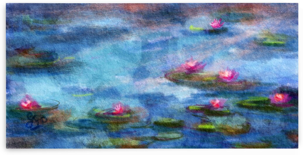 Blue lily Pond and Flowers by Ginette Fine Art