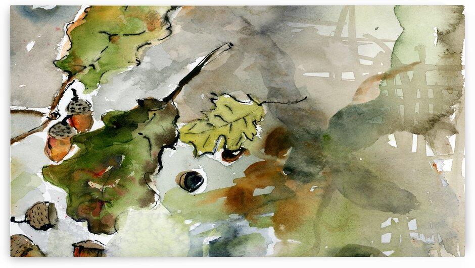 Acorns Autumn Colors Watercolors by Ginette Fine Art