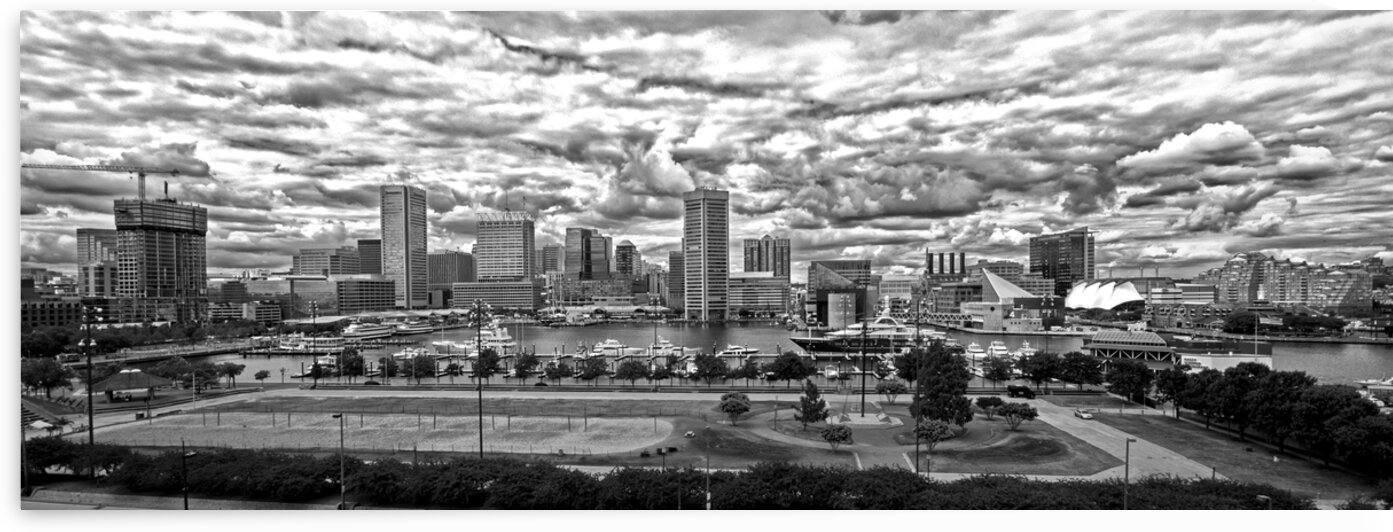 baltimore harbor clouds pan black white DSC 0077 by Bill Swartwout Photography