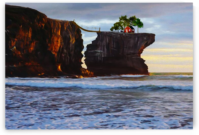 House on a rock above the sea.  by Ievgeniia Bidiuk