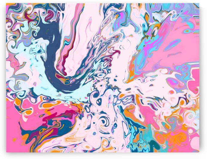 Baby Blue and Pink Paint Pour by Sarah Butcher