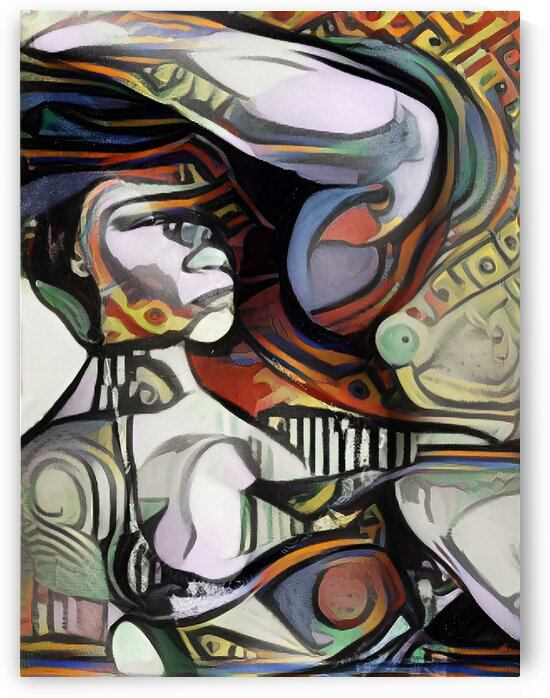 Fitness Woman Bicep Picasso Style Canvas Wall Art by Million Dollar Art