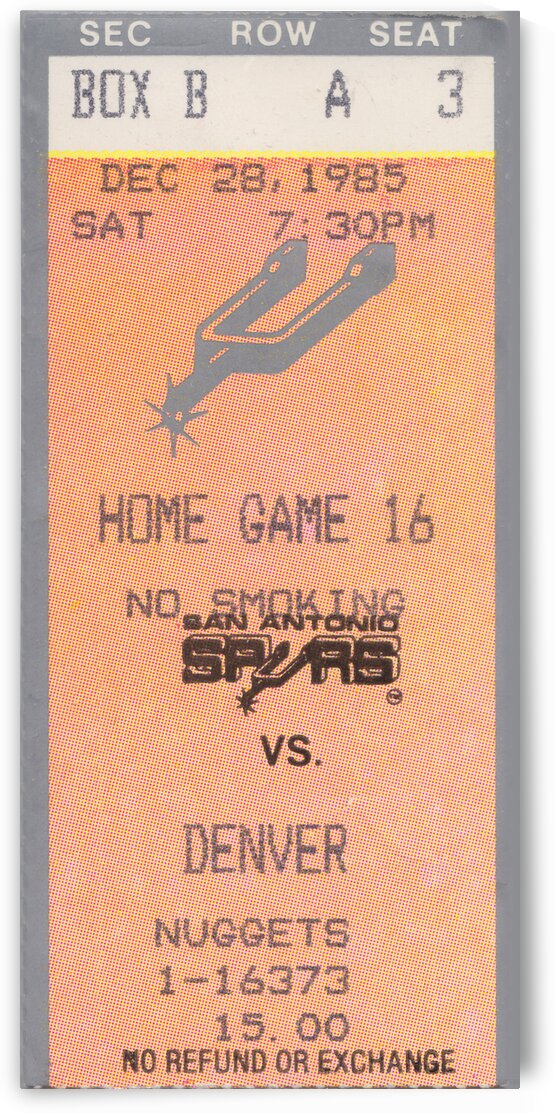 1985 san antonio spurs ticket final by Row One Brand