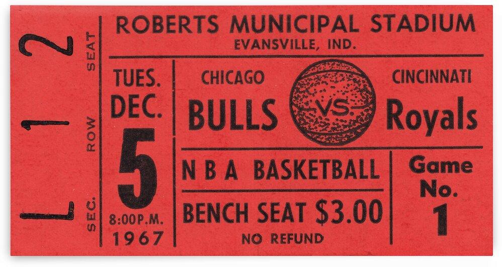 1967 Chicago Bulls vs. Cincinnati Royals Ticket Stub Art by Row One Brand
