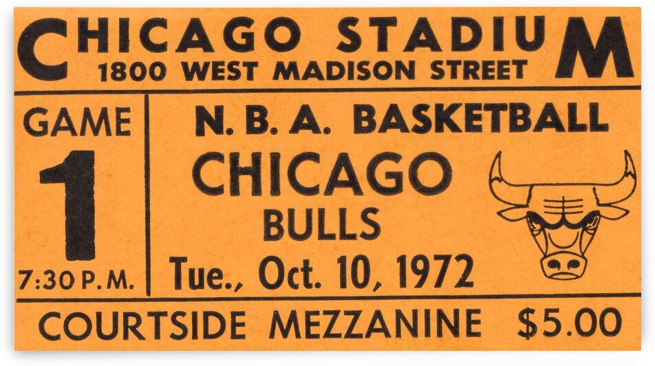 1972 Chicago Bulls Ticket Stub Remix Art by Row One Brand