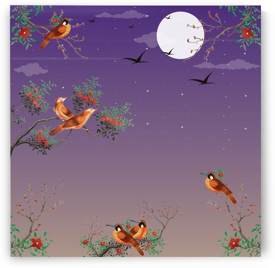 Watercolor Painting Featuring Birds On A Flowering Tree Branch In The Back Night Sky Full Of Stars With The Moon by 7ob