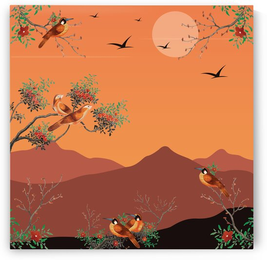 Watercolor Painting Featuring Birds On A Flowering Tree Branch In The Back Sunset With A View Of A Mountains . by 7ob