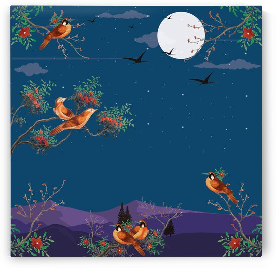 Watercolor Painting Featuring Birds On A Flowering Tree Branch In The Back Blue Night Sky Full Of Stars With A View Of A Mountains by 7ob