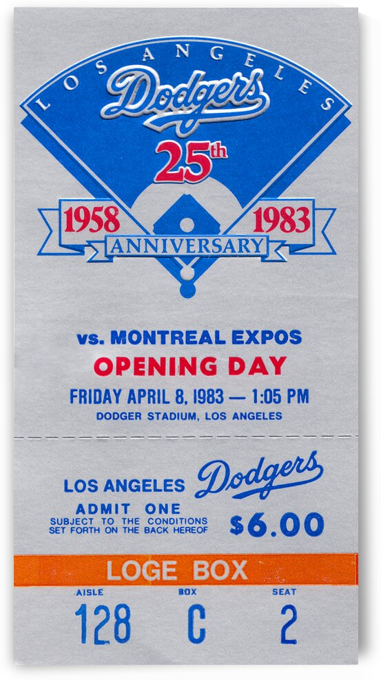 1983 LA Dodgers Opening Day Ticket Art by Row One Brand