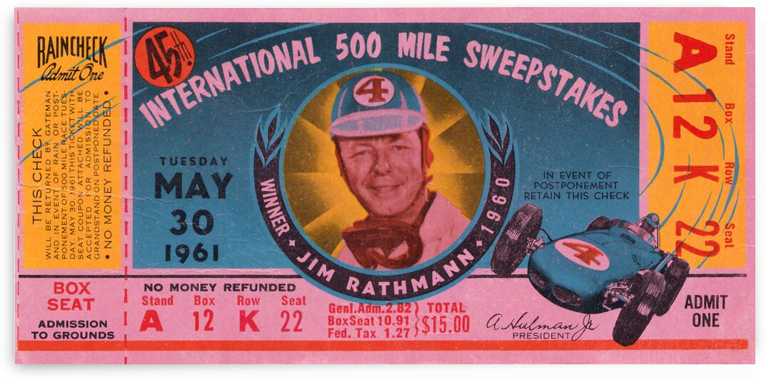 1961 Indy 500 Ticket Poster by Row One Brand