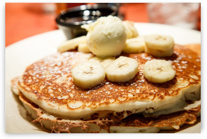 Fresh Banana Pancakes with Butter and Syrup by Darryl Brooks