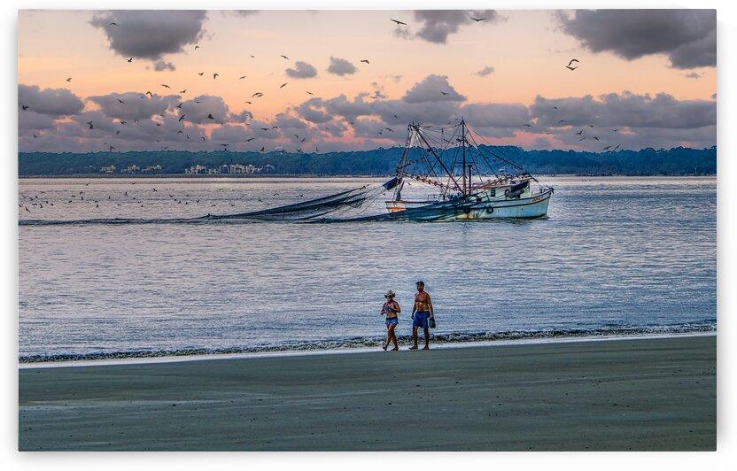 Shrimp Boat and Walk at Dusk by Darryl Brooks