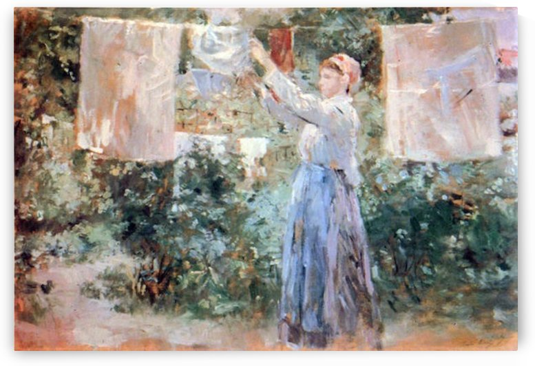 The farmer hanging laundry by Morisot by Morisot