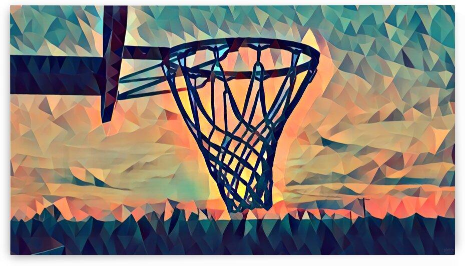 basketball hoop sunset by Pierce Anderson