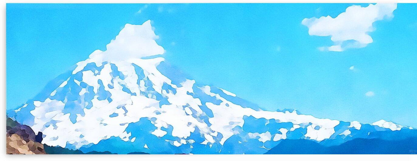 mt ranier art blue sky by Pierce Anderson