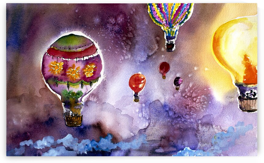 Balloons Watercolors by Ginette Fine Art