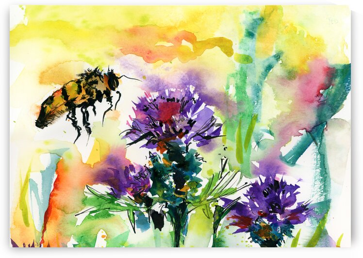 Thistles and Bees Flowers Bees by Ginette Fine Art