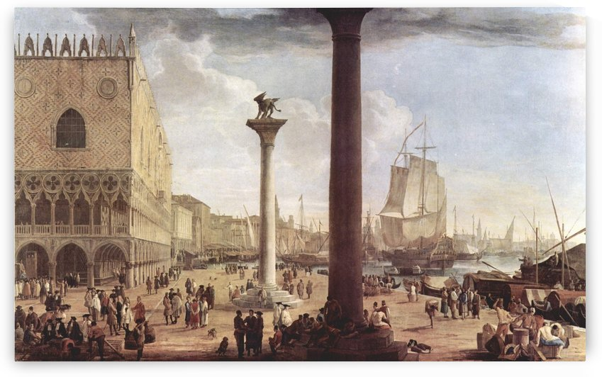 Italian city view with figures by Luca Carlevarijs