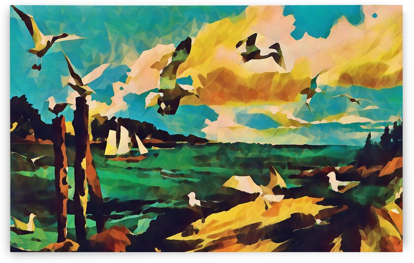 gulls laurence sisson maine art remix by Pierce Anderson