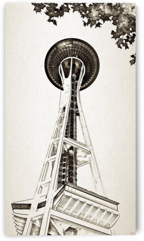 black white seattle space needle art by Pierce Anderson