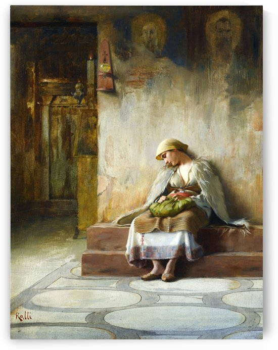 Young girl sleeping in a church by Theodore Ralli