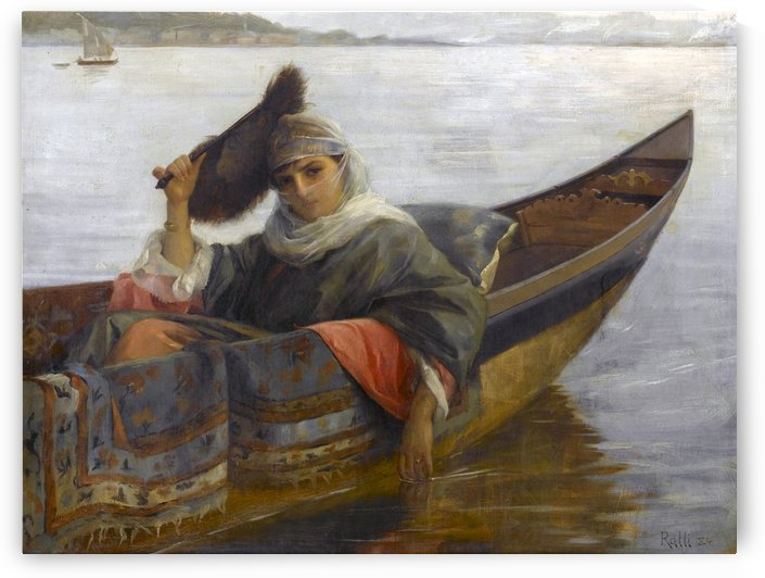 Oriental young woman on boat by Theodore Ralli