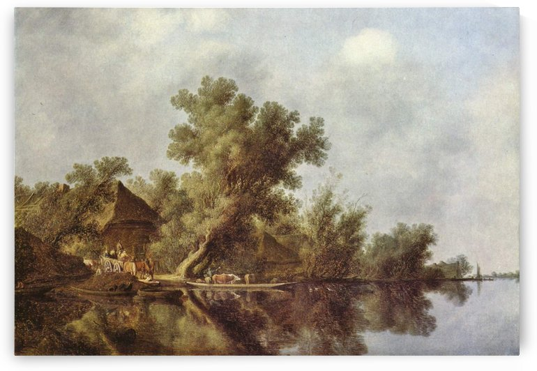 River landscape with house and figures by Salomon van Ruysdael