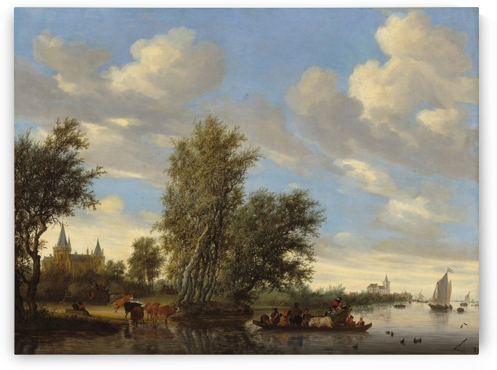River Landscape with Ferry by Salomon van Ruysdael