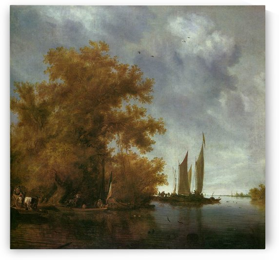 River Landscape with Boats by Salomon van Ruysdael