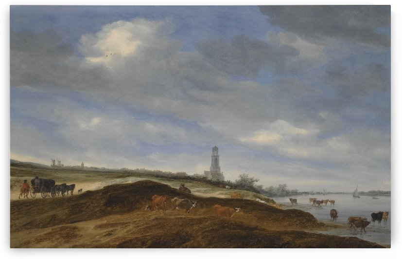 A panoramic view of Rhenen from the banks of the Rhine to the West of the city, with the Church Of Saint Cunera in the distance by Salomon van Ruysdael