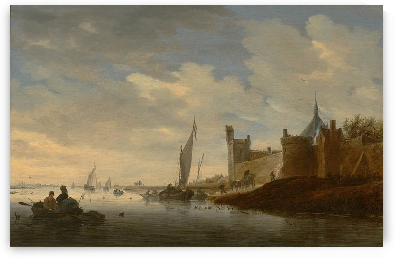 River landscape with a walled town by Salomon van Ruysdael