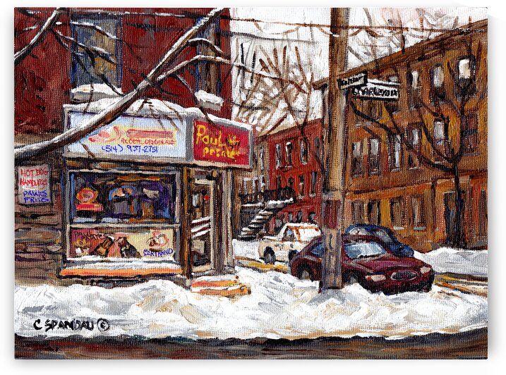 MONTREAL WINTER SCENE PAUL PATATES POINTE ST CHARLES  by Carole  Spandau