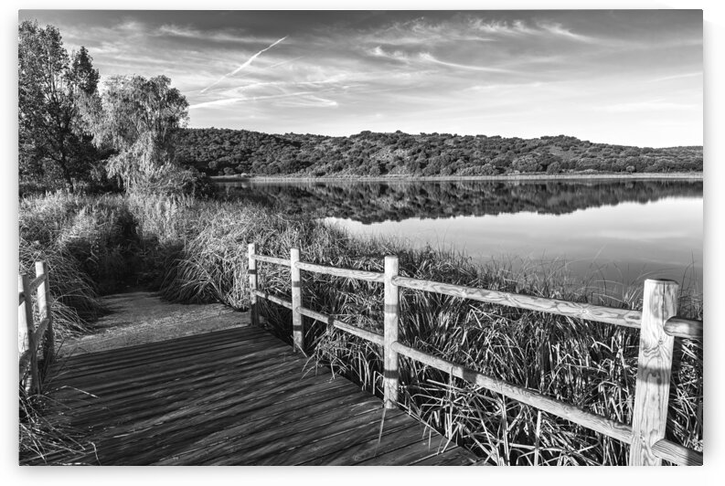 Wooden bridge over the Ruidera lagoons in black and white by Vicen photography