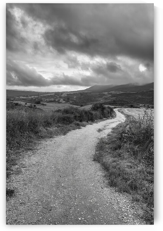 A cloudy day on the Camino de Santiago in black and white Spain by Vicen photography