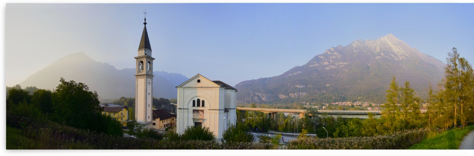 Panorama of church in northern italian village Belluno Italy Europe by Atelier Knox