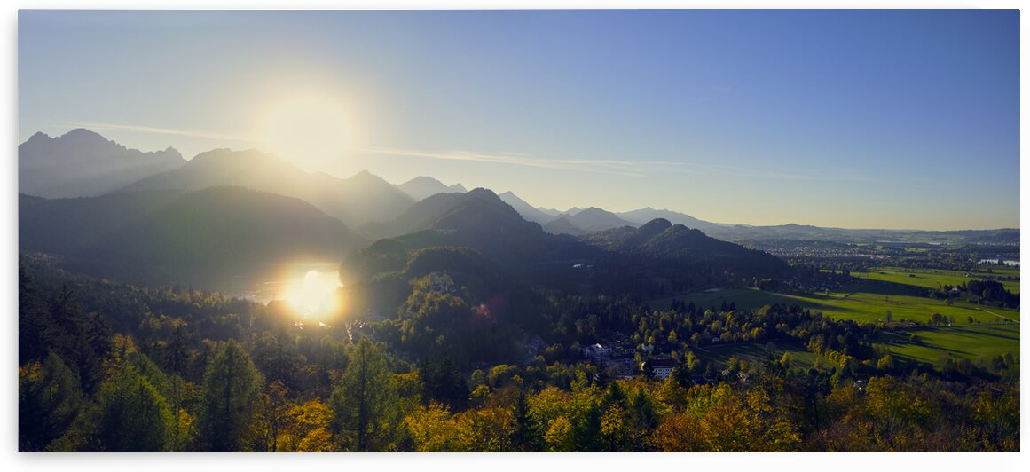 Sunset over the bavarian alps Bavaria Germany Europe by Atelier Knox