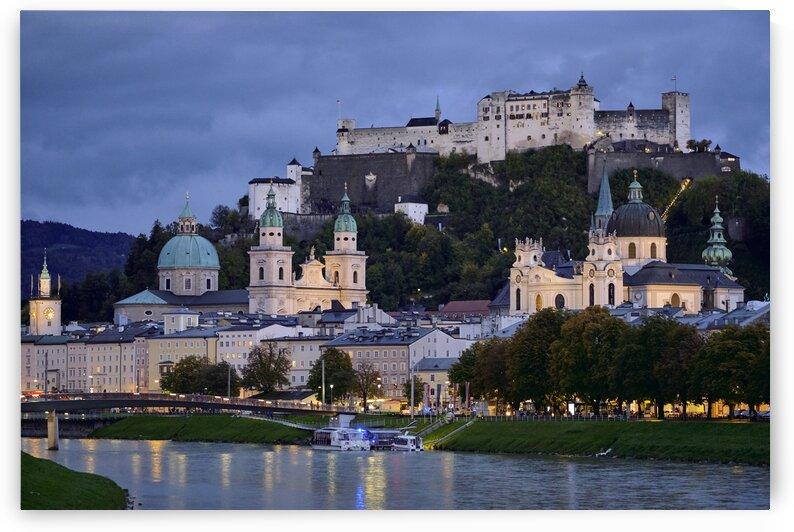 Austrian cityscape at night Salzburg Austria by Atelier Knox