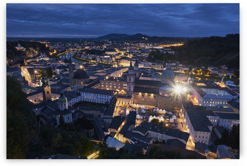 Austrian cityscape in the evening Salzburg Austria by Atelier Knox