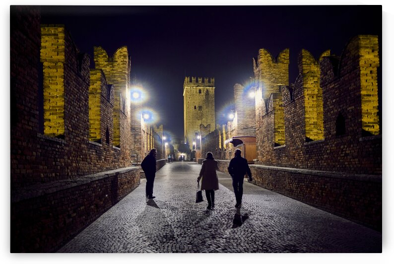 Castelvecchio Bridge at night Verona Italy by Atelier Knox