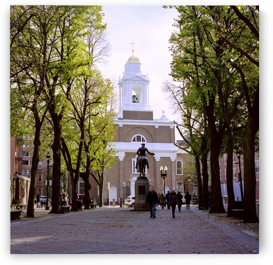 Paul Revere Mall with St. Stephens Catholic church in background in North end district Boston Massachusetts USA by Atelier Knox