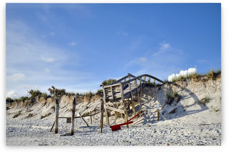 Damaged pier from hurricane michael Saint Andrews state park Florida USA by Atelier Knox