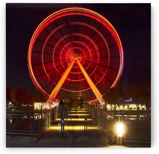 La grande roue  ferris wheel in the old port tourist district at night during fall Montreal Quebec Canada by Atelier Knox