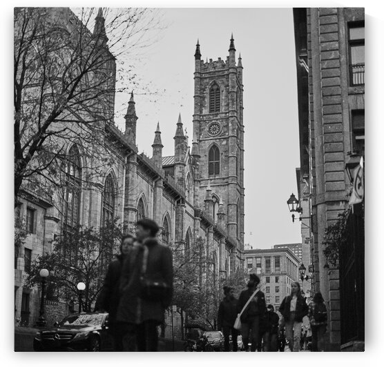 Notre dame cathedral with tourists walking around historic district Montreal Quebec Canada by Atelier Knox
