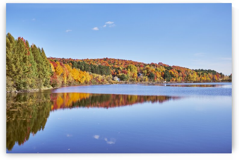 Lake with colourful forest during fall season Estrie Quebec Canada by Atelier Knox