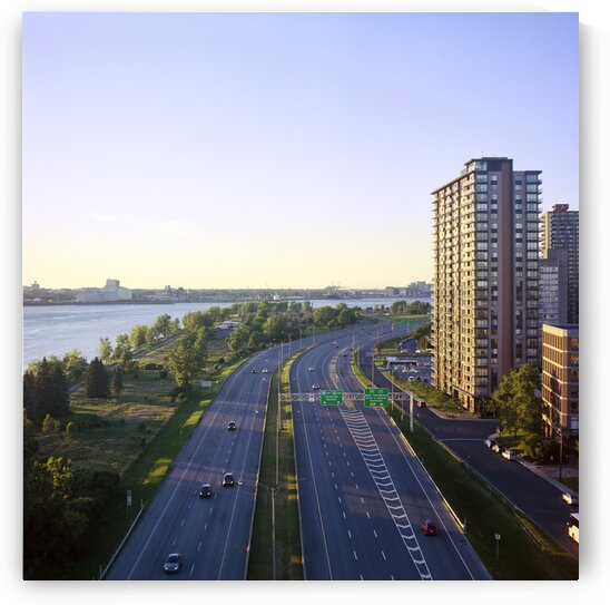 Highway from above on summer day Montreal Quebec Canada by Atelier Knox