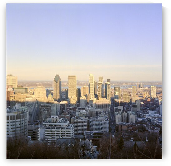 Canadian city skyline during sunset Montreal Quebec Canada by Atelier Knox